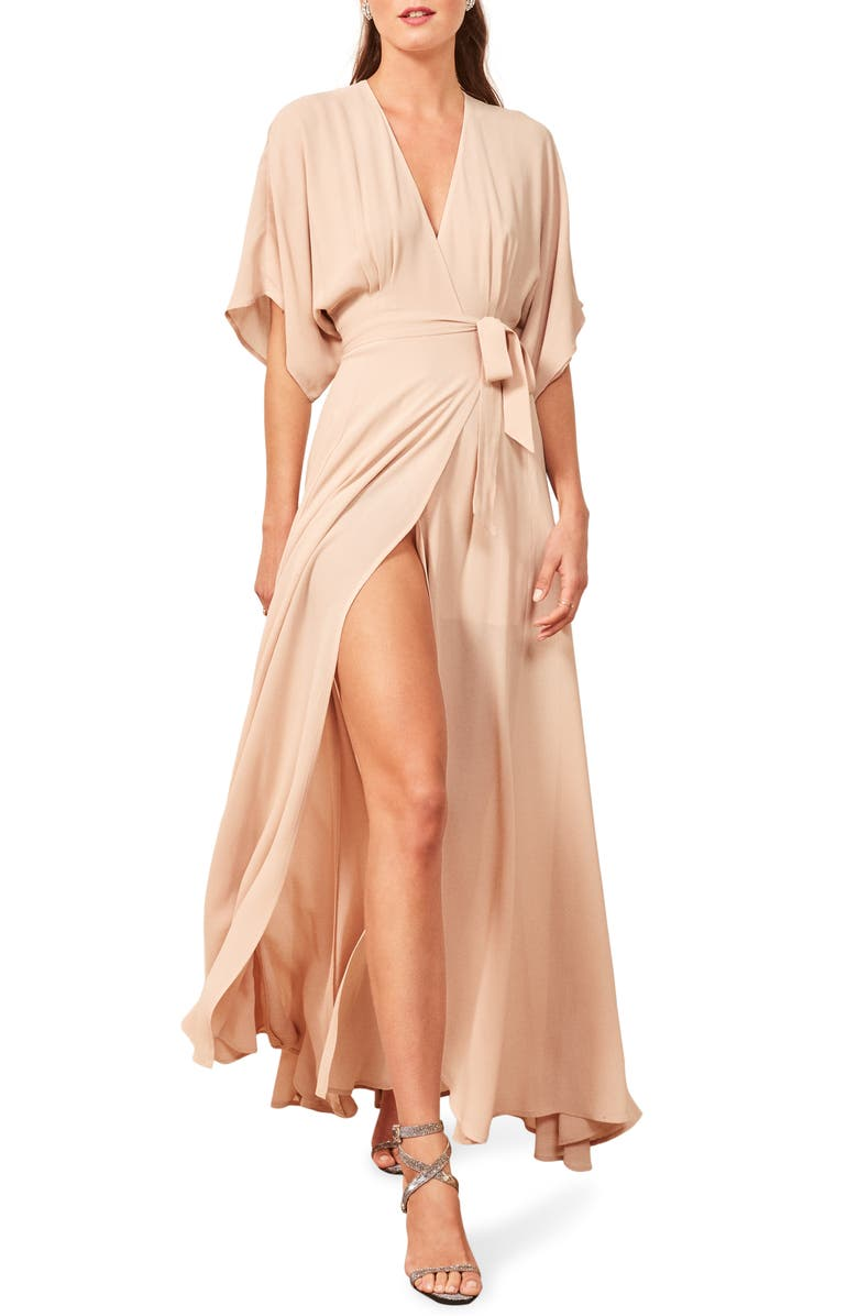 REFORMATION Winslow Maxi Dress, Main, color, CHAMPAGNE