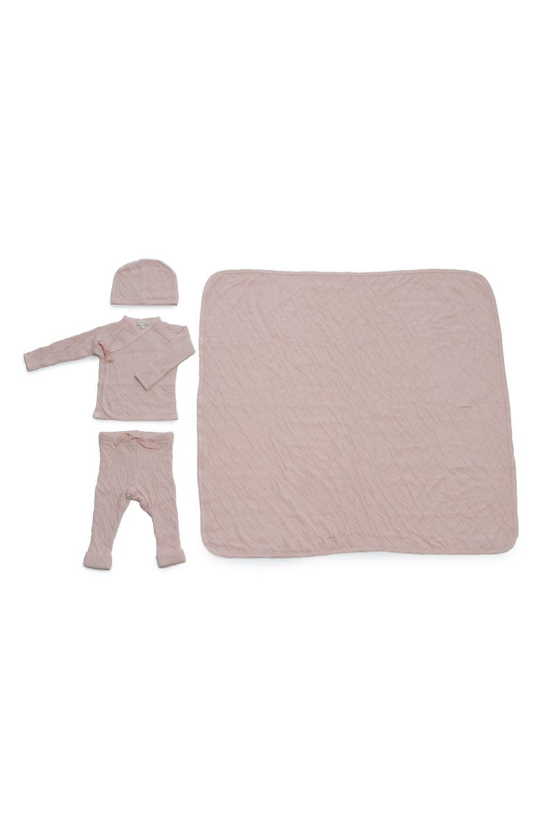 BAREFOOT DREAMS<SUP>®</SUP> Cardigan, Pants, Beanie & Blanket Set, Main, color, PINK BLUSH