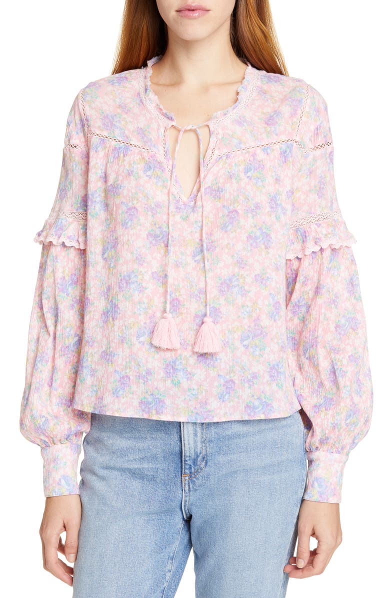 LOVESHACKFANCY Prairie Floral Ruffle Blouse, Main, color, 673