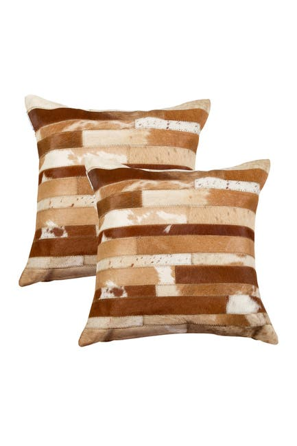 """Image of Natural Torino Madrid Pillow 18"""" X 18"""" - Brown & White - Pack of 2"""