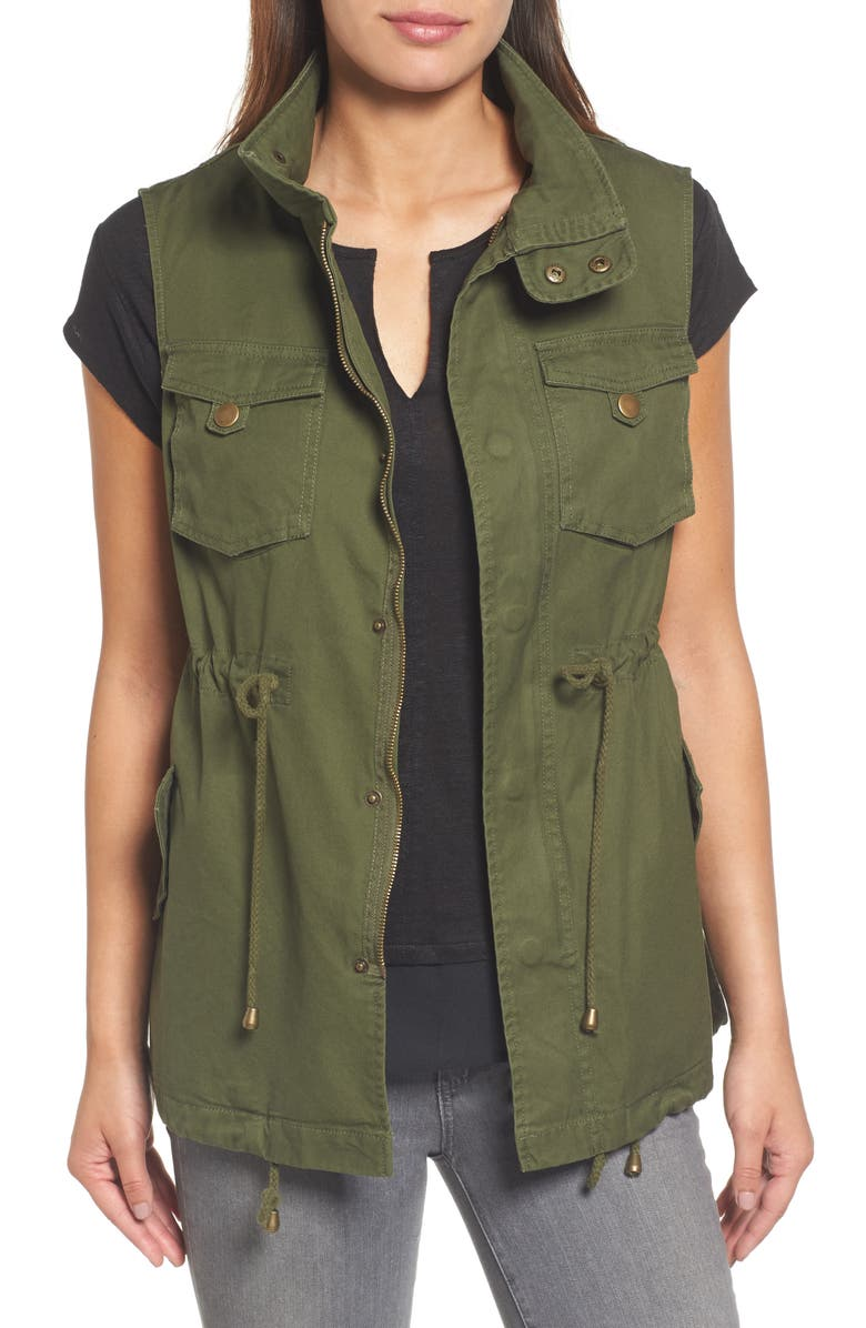 PLEIONE Cotton Twill Military Vest, Main, color, ARMY GREEN