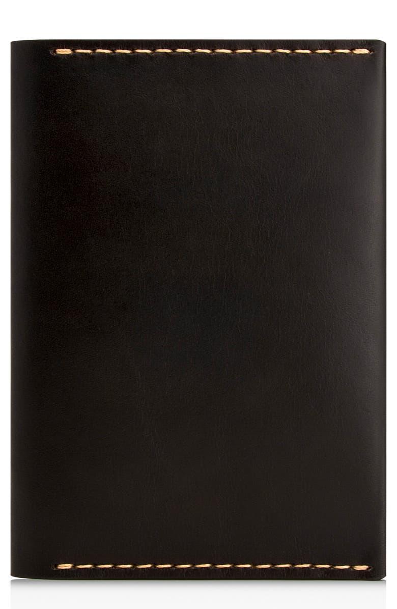 EZRA ARTHUR Leather Passport Wallet, Main, color, JET TOP STITCH