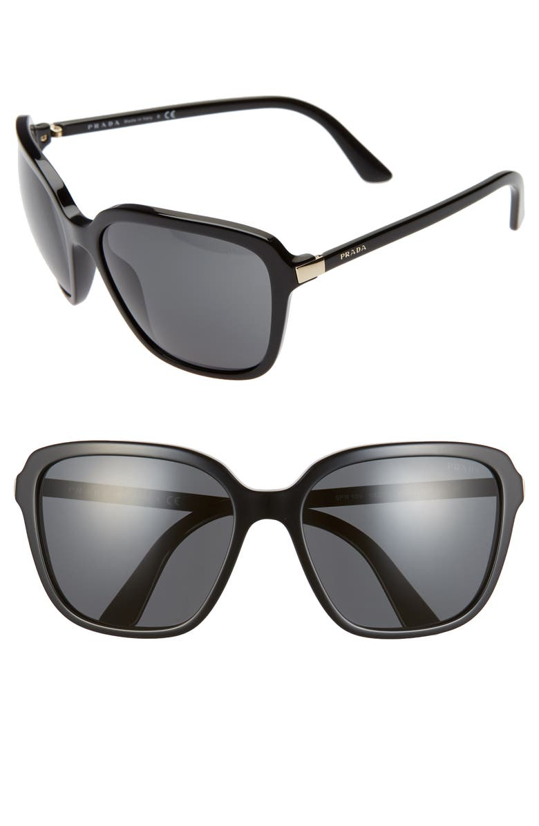 PRADA Pillow 58mm Square Sunglasses, Main, color, BLACK/ BLACK SOLID