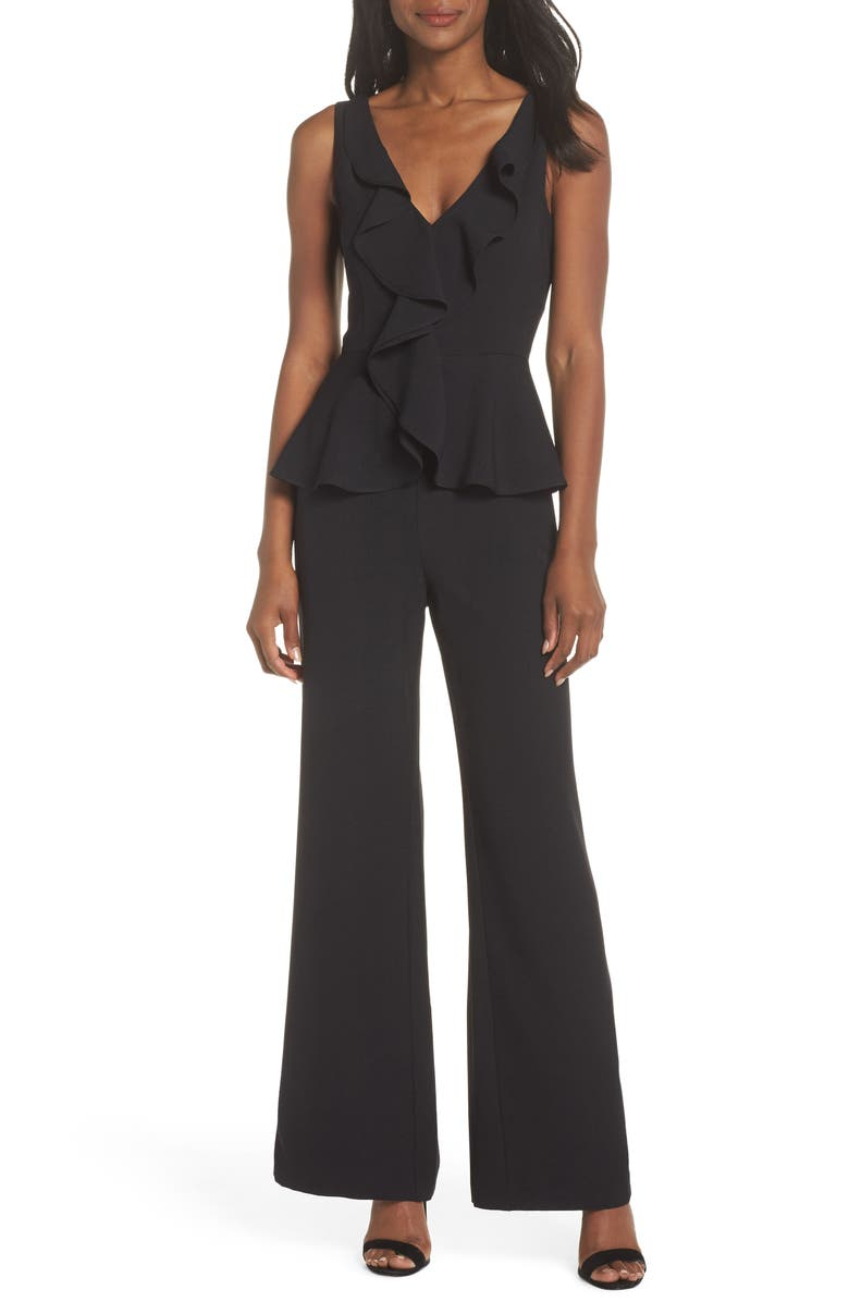 ELIZA J Sleeveless Peplum Jumpsuit, Main, color, BLACK