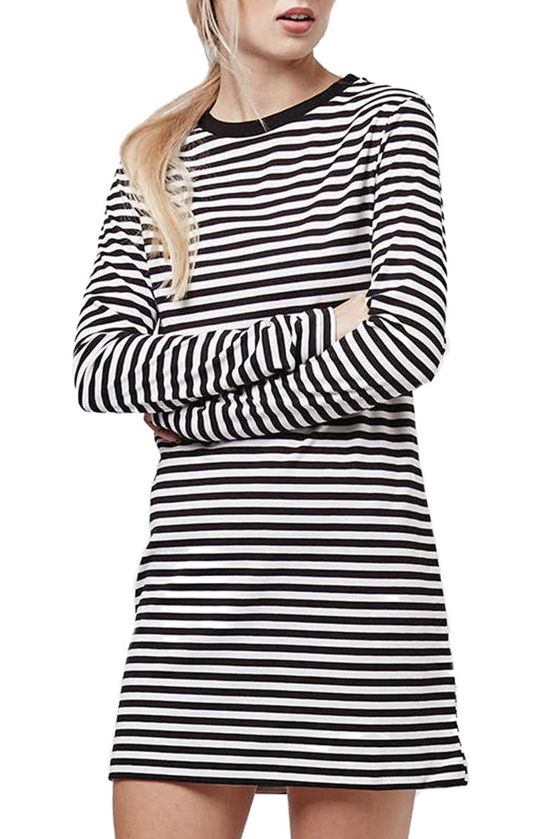 TOPSHOP Stripe Long Sleeve Tunic Dress, Main, color, 020