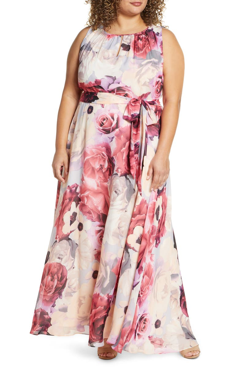 TAHARI Floral Chiffon Sleeveless Maxi Dress, Main, color, 650