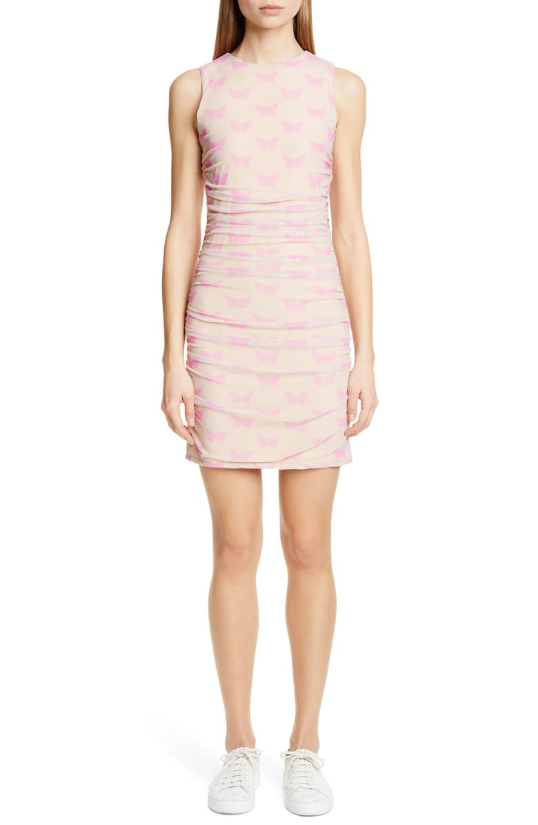 SANDY LIANG Solo Butterfly Print Ruched Minidress, Main, color, BEIGE W/ PINK