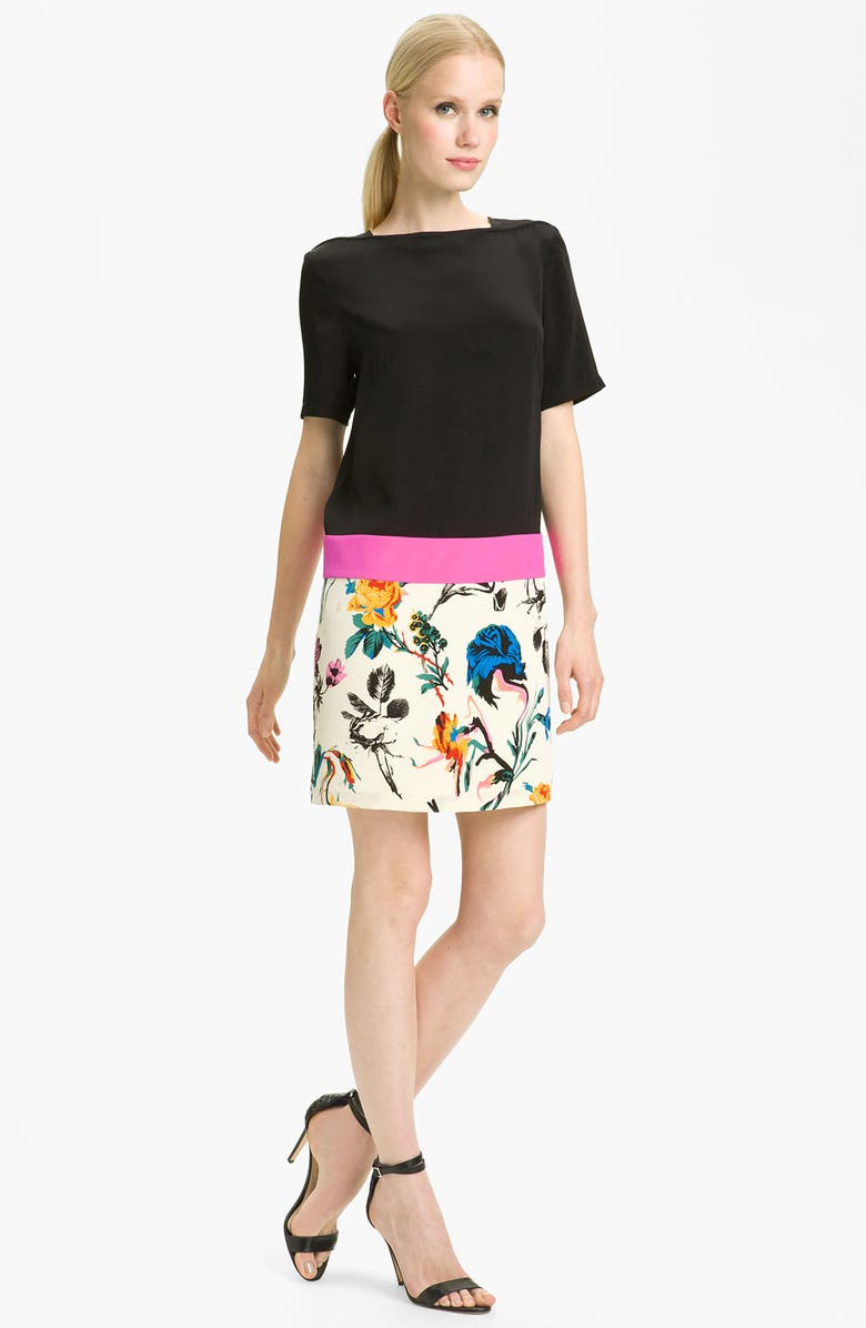 TIBI Print Colorblock Shift Dress, Main, color, 001