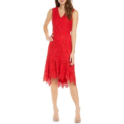 Adelyn Rae Damion High/low Lace Dress, Red