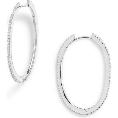 Apm Monaco Pave Flat Hoop Earrings