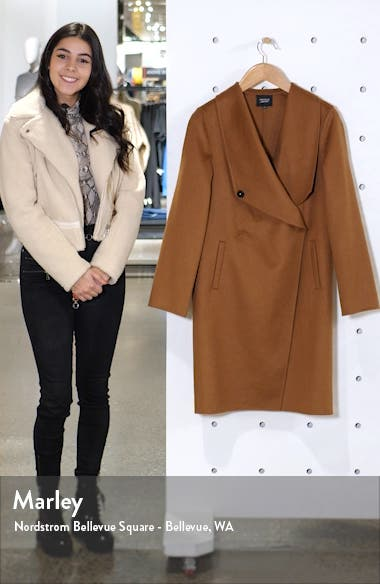 Cascade Collar Wool Blend Coat, sales video thumbnail