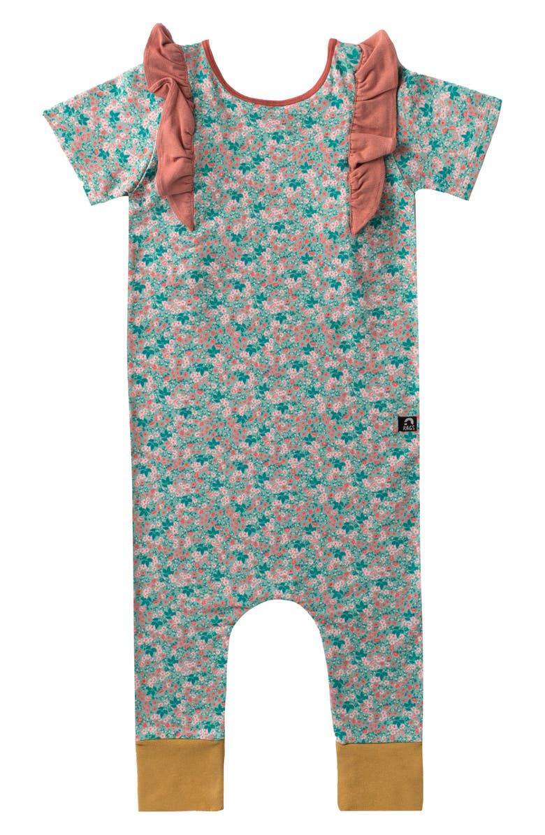 RAGS Floral Print Ruffle Romper, Main, color, GRANITE/ GREEN FLORAL