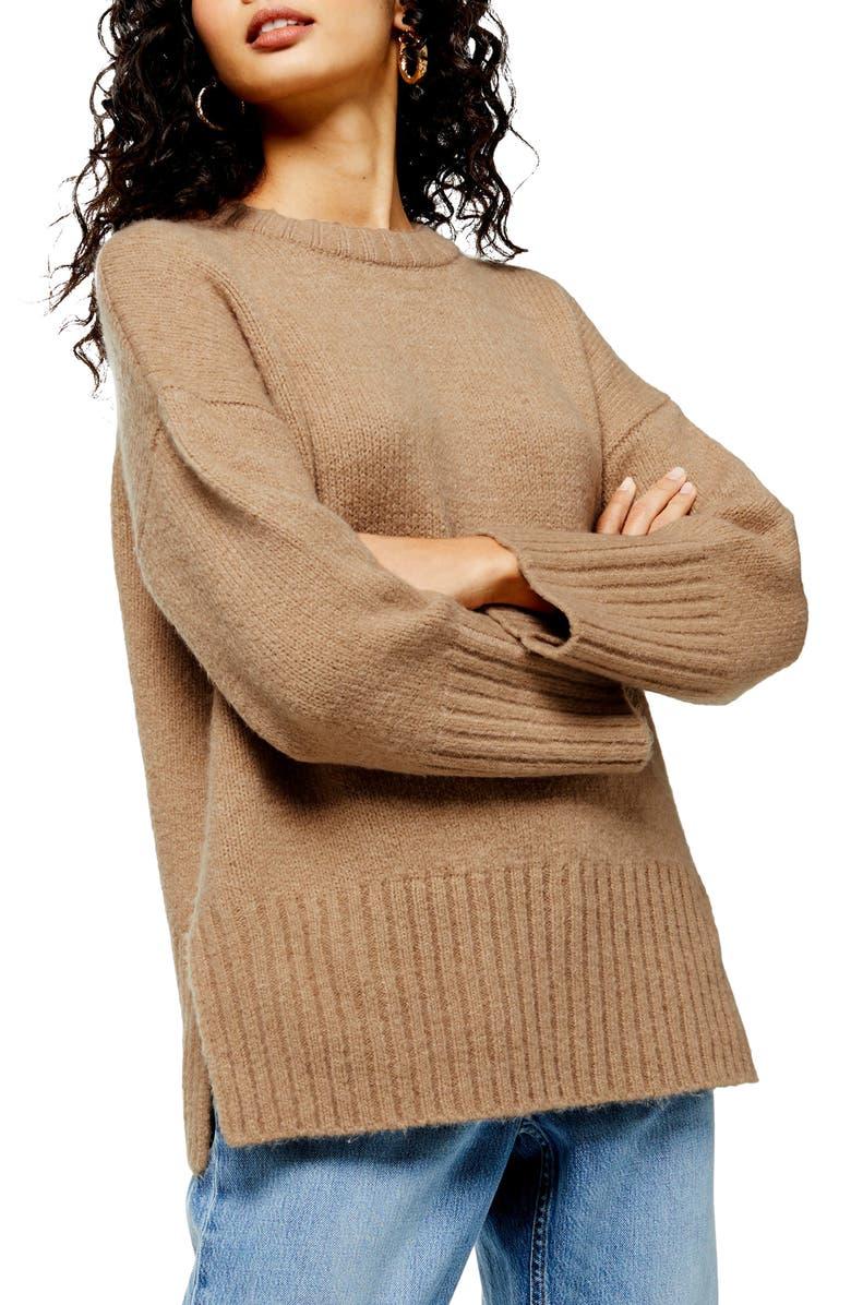 TOPSHOP Supersoft Deep Hem Crewneck Sweater, Main, color, CAMEL