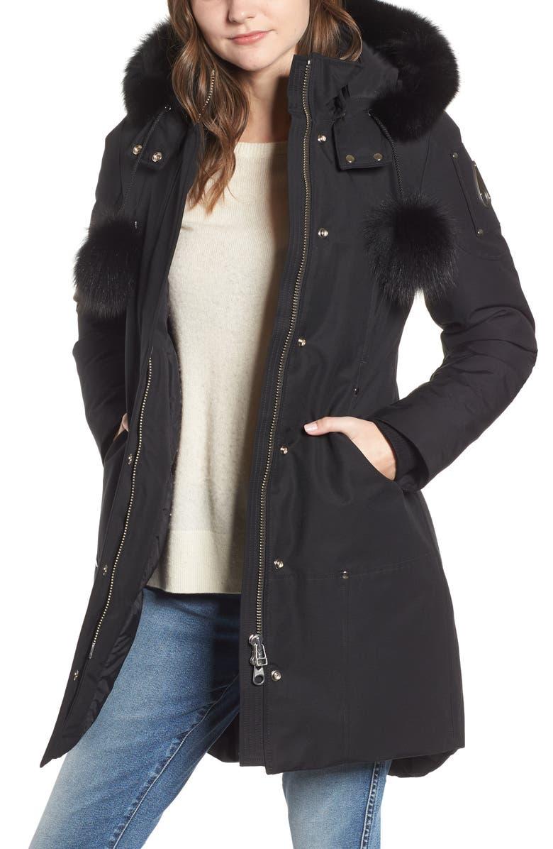 MOOSE KNUCKLES 'Stirling' Down Parka with Genuine Fox Fur Trim, Main, color, BLACK W BLACK FUR