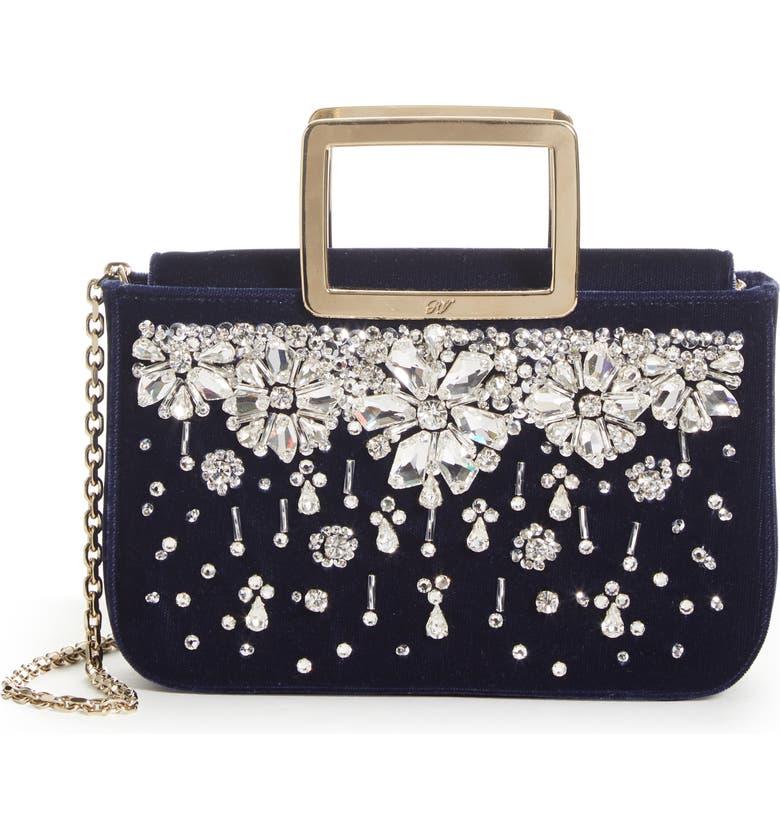 Roger Vivier Joie De Vivier Crystal Velvet Top Handle Bag