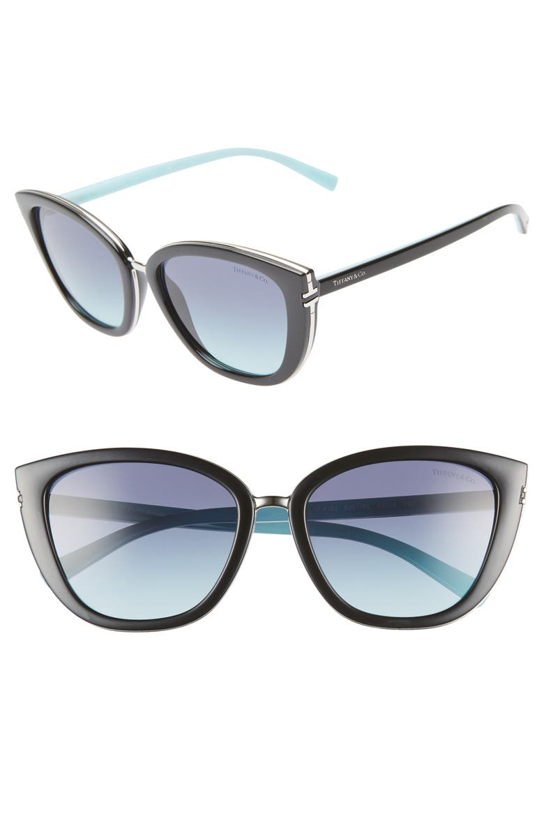 TIFFANY & CO. Tiffany-T 55mm Sunglasses, Main, color, BLACK/ BLUE GRADIENT