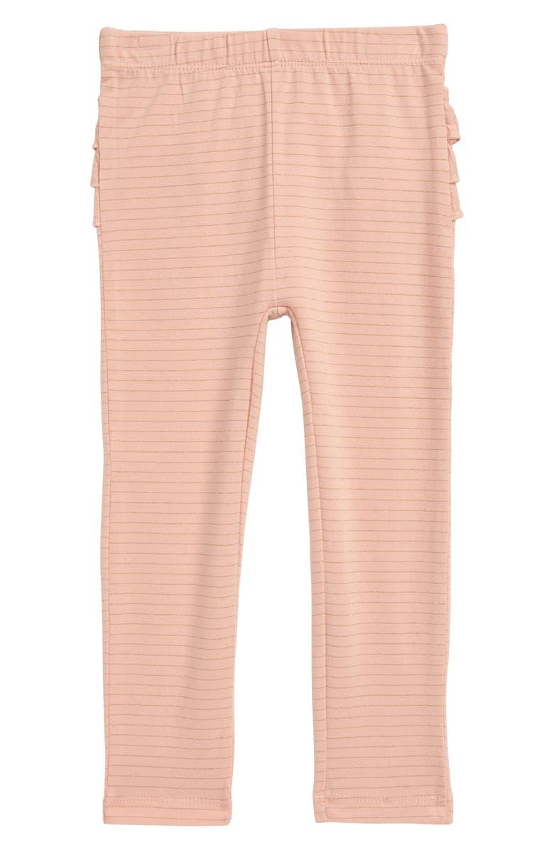 MINI BODEN Ruffle Bum Sparkle Leggings, Main, color, DUSKY PINK/ GOLD