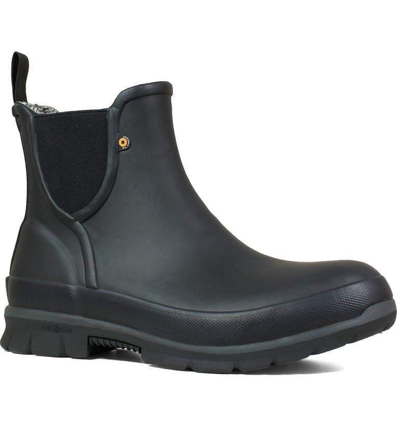 BOGS Amanda Plush Waterproof Slip-On Boot, Main, color, BLACK