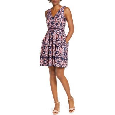 Vince Camuto Geo Print Sleeveless Fit & Flare Dress, Blue