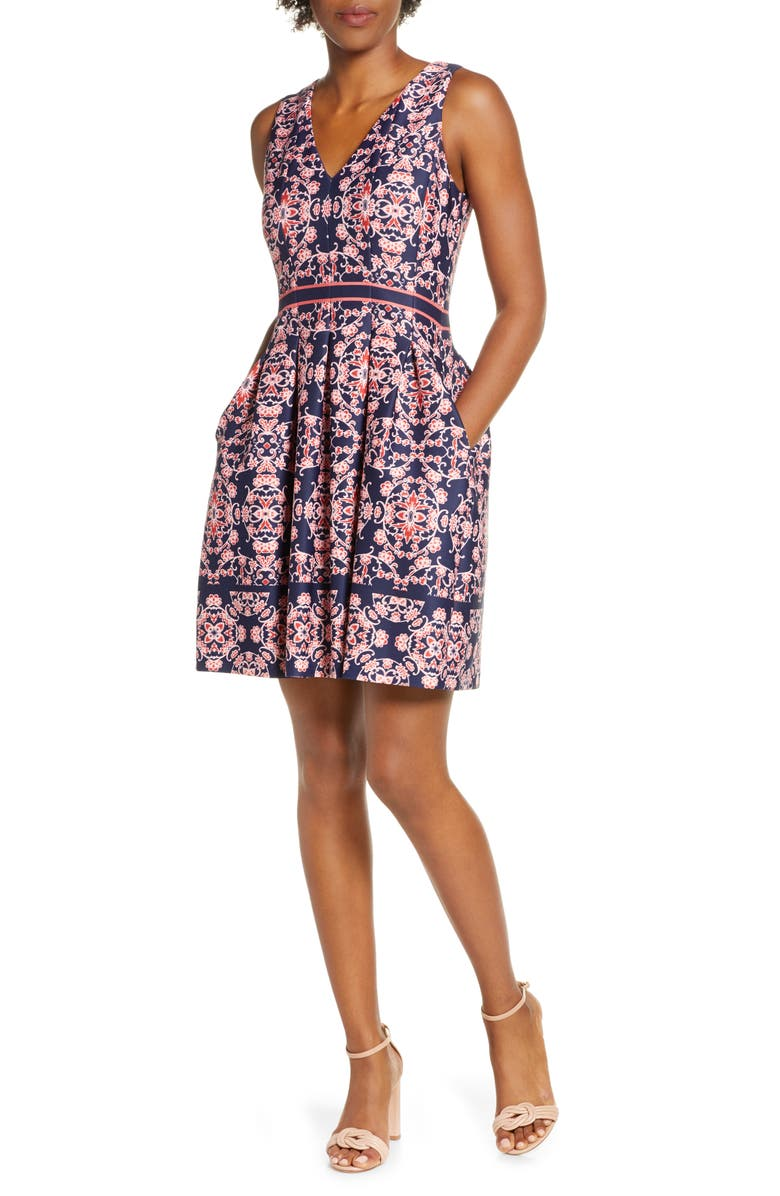 VINCE CAMUTO Geo Print Sleeveless Fit & Flare Dress, Main, color, NAVY/ MULTI