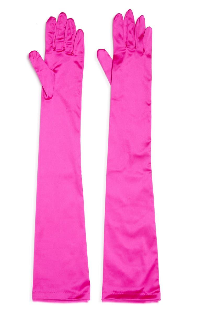DRIES VAN NOTEN Silk Blend Opera Length Gloves, Main, color, FUCHSIA