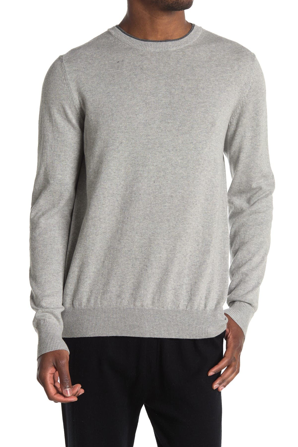 Image of AMICALE Contrast Trim Crew Neck Cotton Cashmere Blend Sweater