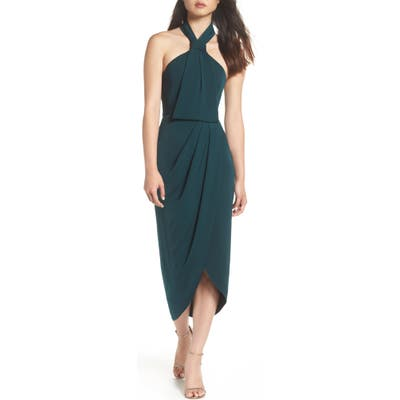 Shona Joy Knotted Tulip Hem Midi Dress, Green