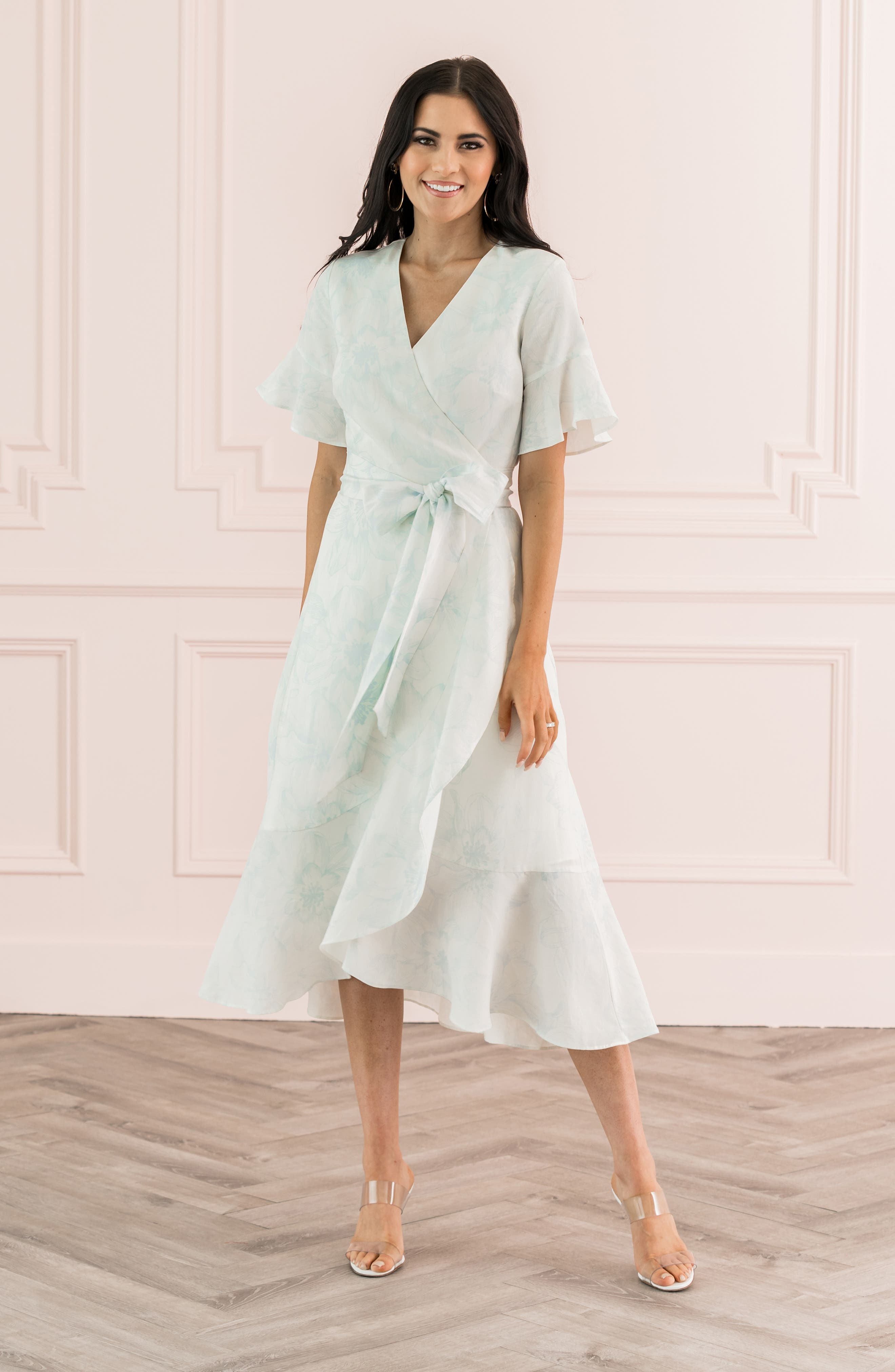 Ruffle Wrap Dress, Main, color, IVORY DOVE SKETCH FLORAL