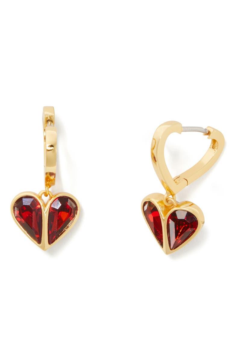 KATE SPADE NEW YORK rock solid heart huggie hoop earrings, Main, color, RUBY/ GOLD