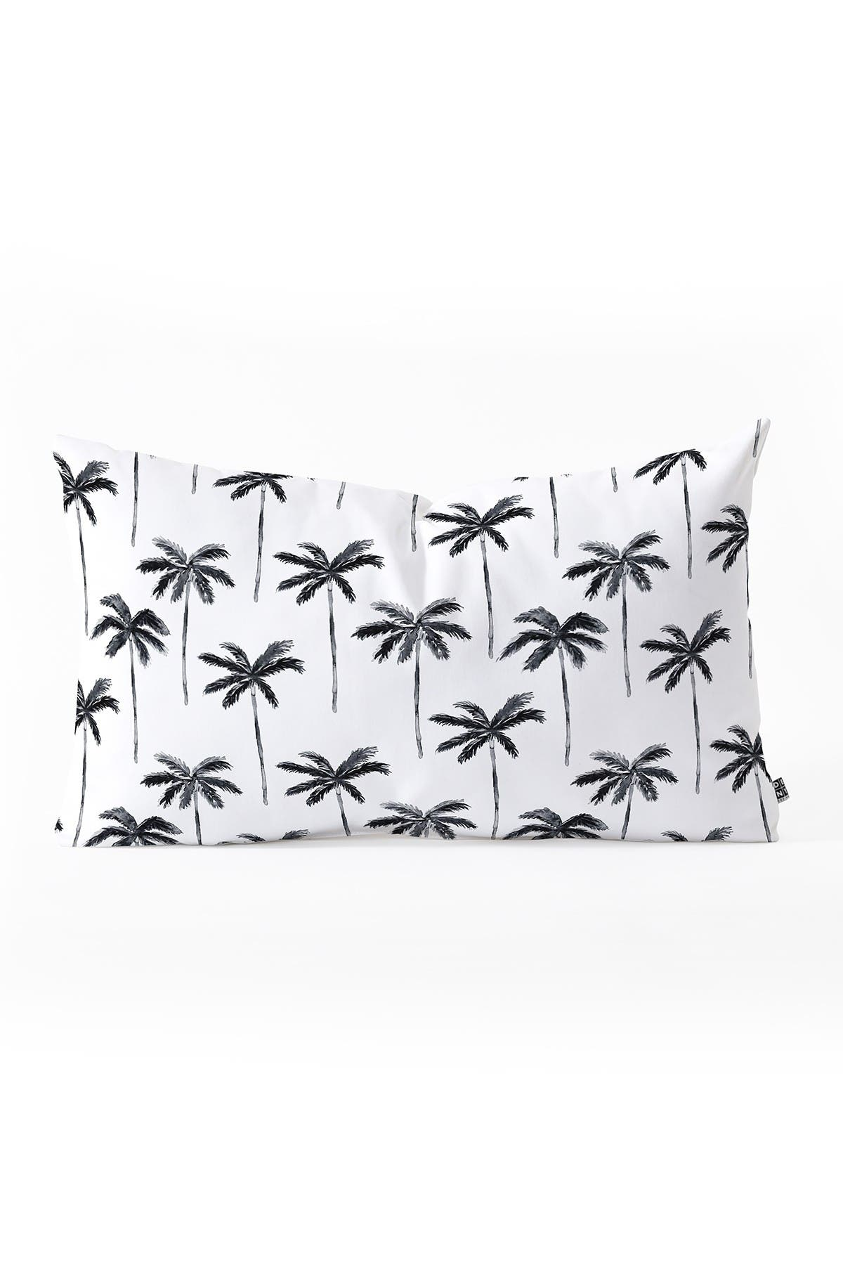 Image of Deny Designs Little Arrow Design Co Watercolor Palm tree in Black Oblong Throw Pillow