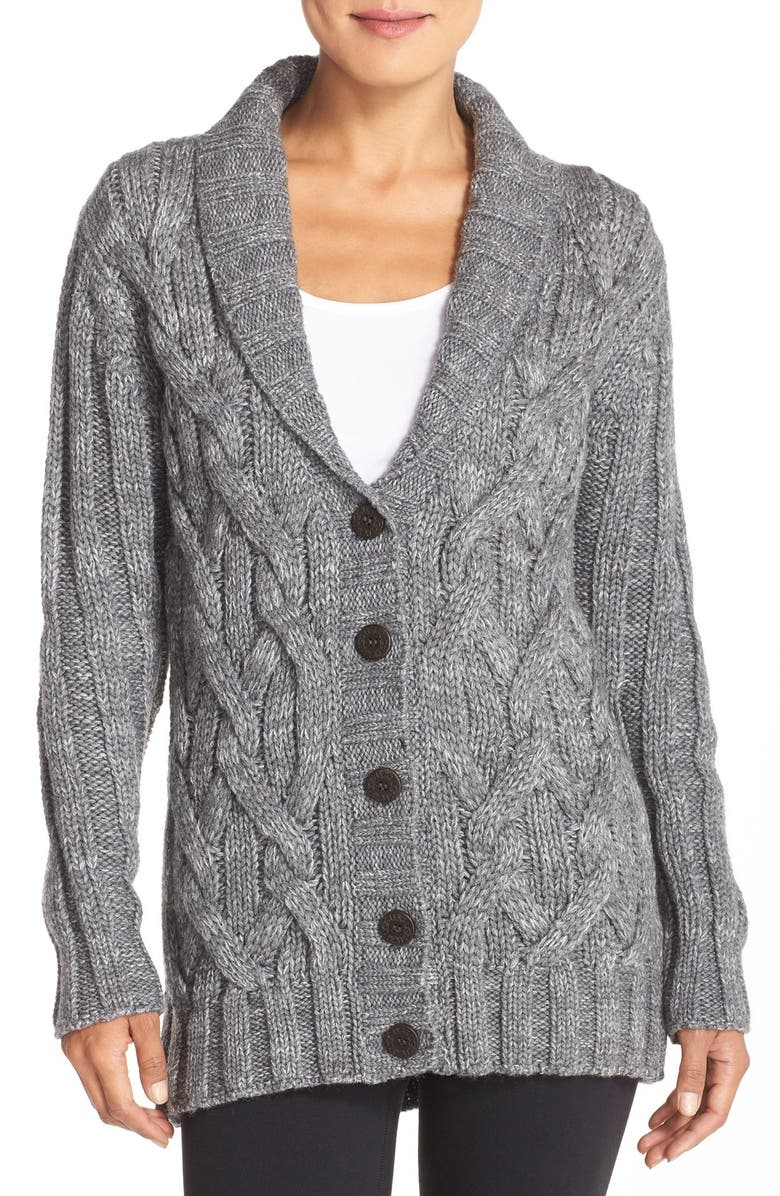 UGG<SUP>®</SUP> 'Margie' Cable Knit Shawl Collar Cardigan, Main, color, 020