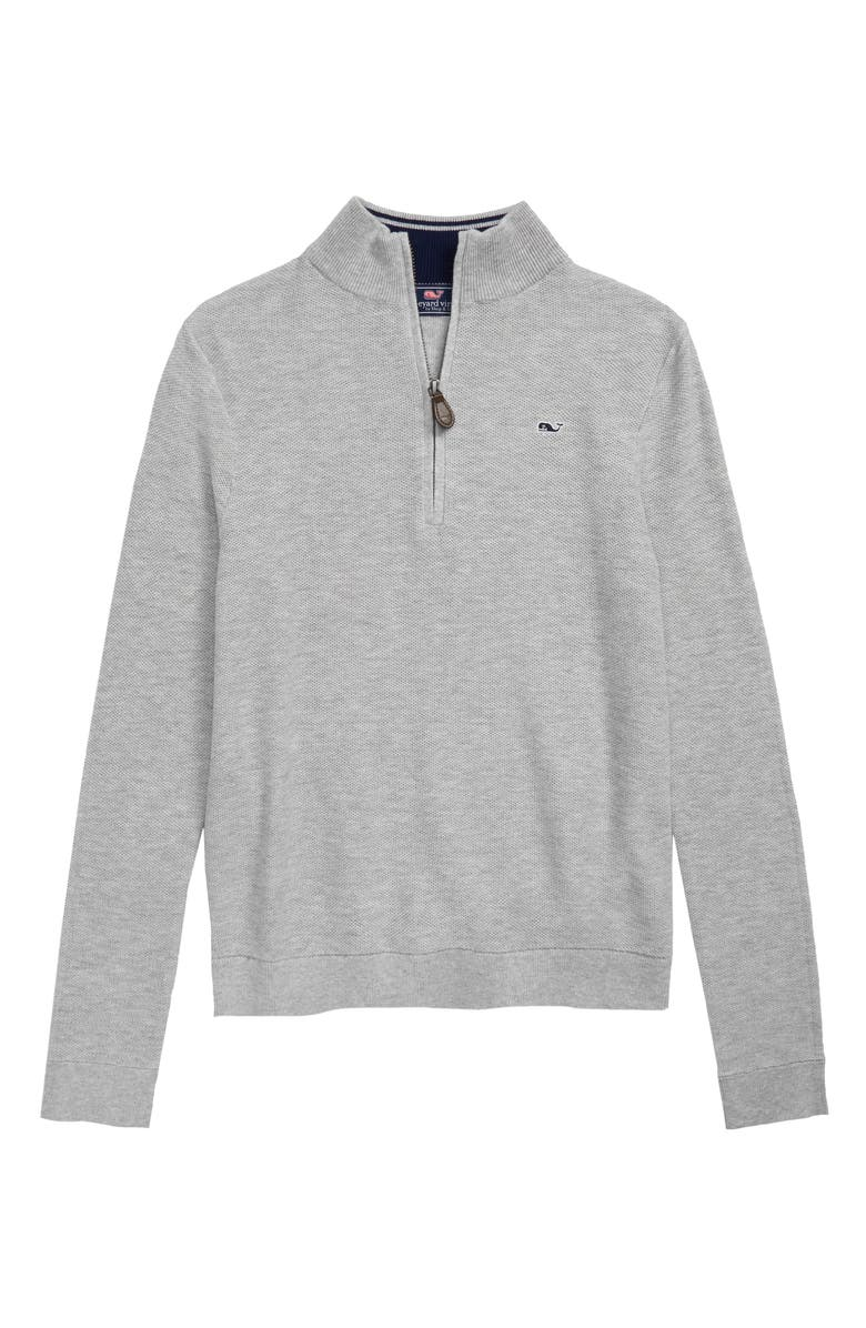 VINEYARD VINES Mock Neck Half Zip Pullover, Main, color, LIGHT HEATHER GRAY