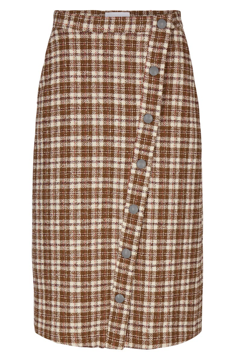 REMAIN BIRGER CHRISTENSEN Marina Check Cotton Blend Tweed Midi Skirt, Main, color, 600