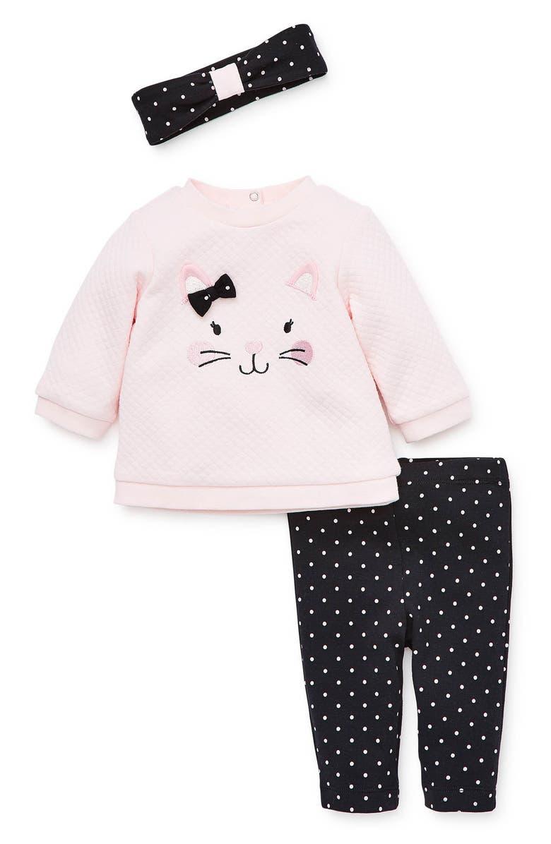 LITTLE ME Sweatshirt, Leggings & Headband Set, Main, color, BLACK