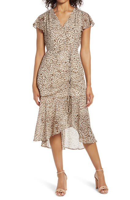 Image of Sam Edelman Ruched Front High/Low Midi Dress