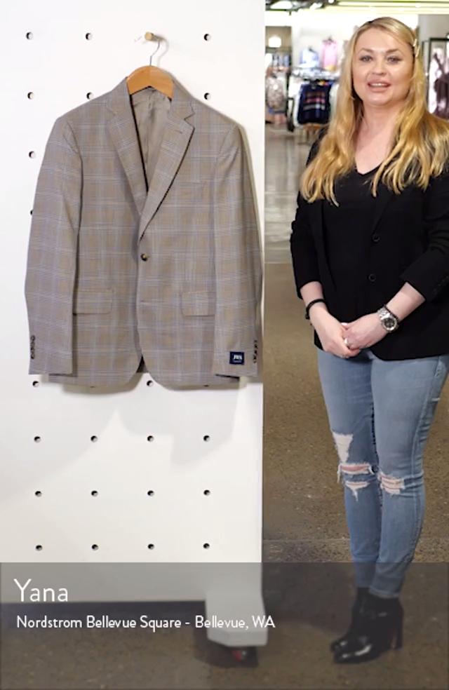 Traditional Fit Plaid Wool Sport Coat, sales video thumbnail