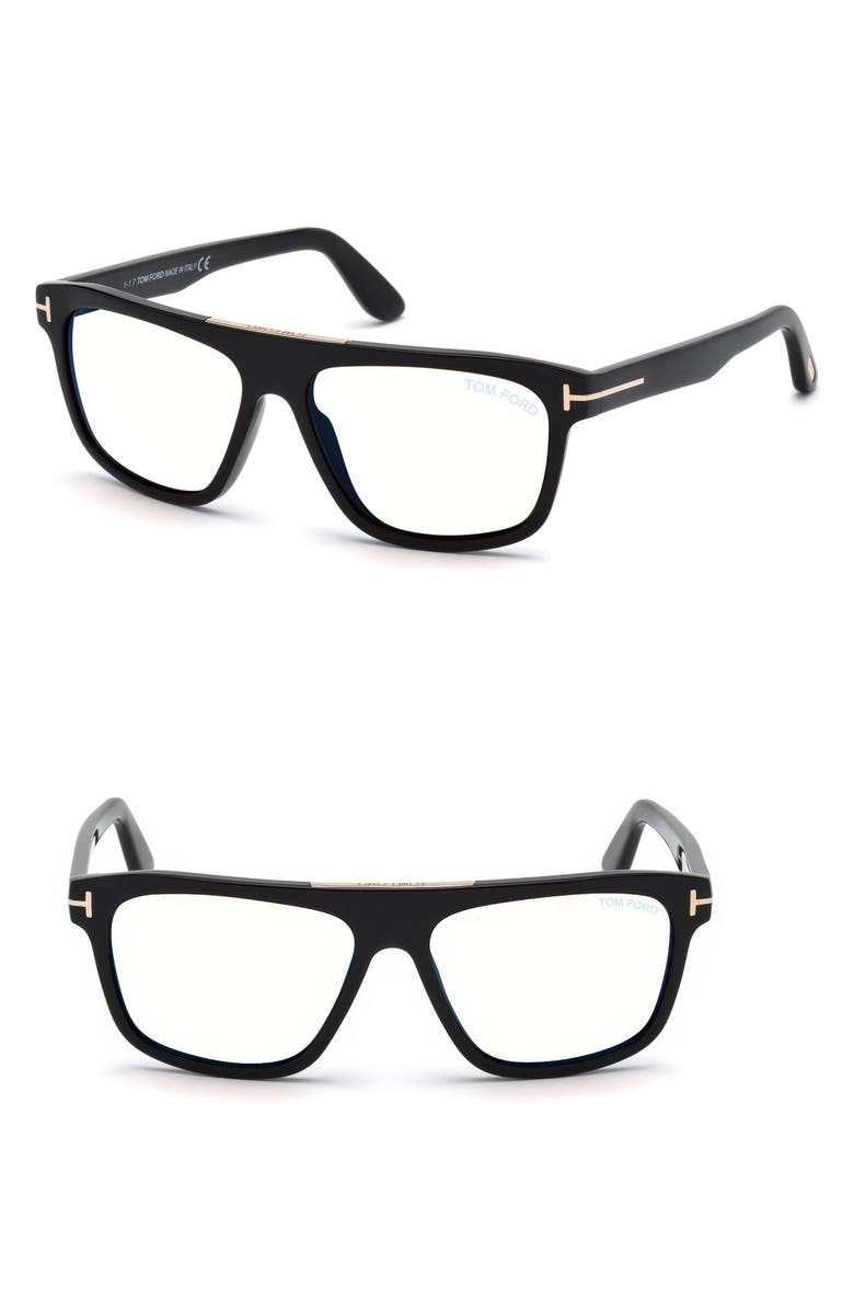 TOM FORD Cecilio 57mm Sunglasses, Main, color, SHINY BLACK