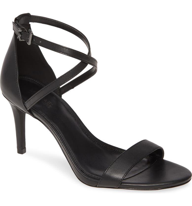 MICHAEL MICHAEL KORS Ava Strappy Sandal, Main, color, BLACK VACHETTA LEATHER