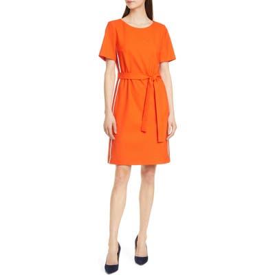 Boss Dasanna Belted Short Sleeve A-Line Dress, Orange