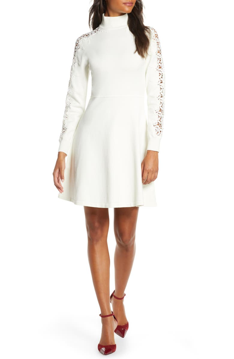ELIZA J Mock Neck Fit & Flare Long Sleeve Sweater Dress, Main, color, IVORY