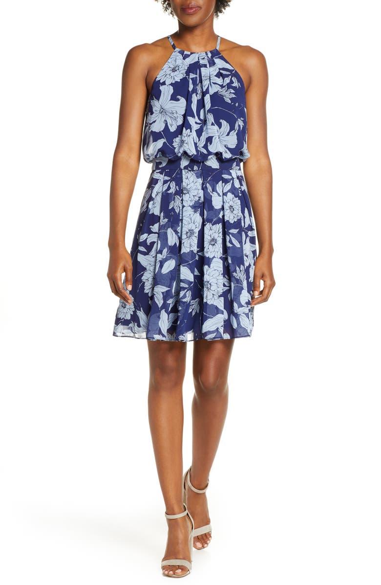 ELIZA J Floral Print Halter Dress, Main, color, NAVY