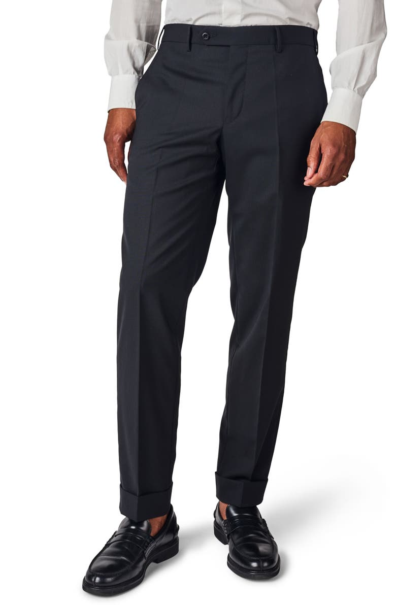 ZANELLA Curtis Flat Front Solid Stretch Wool Trousers, Main, color, 001