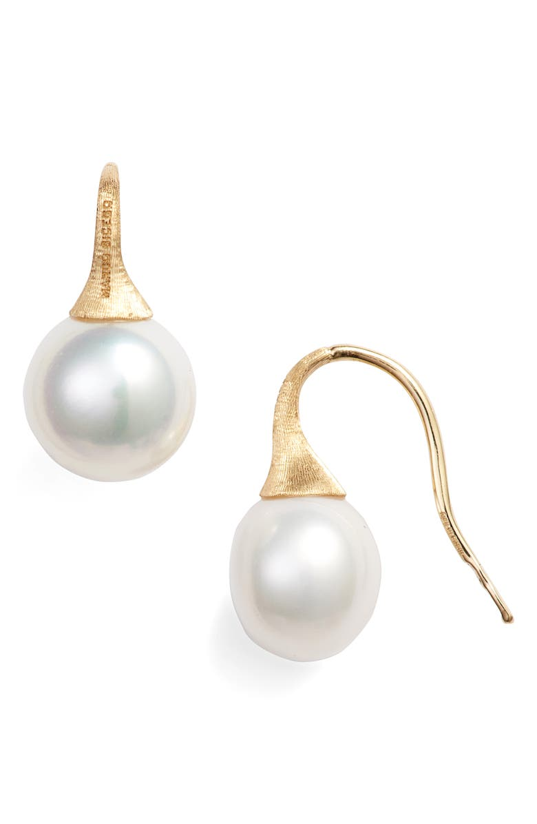 MARCO BICEGO Pearl Drop Earrings, Main, color, YELLOW GOLD/ PEARL