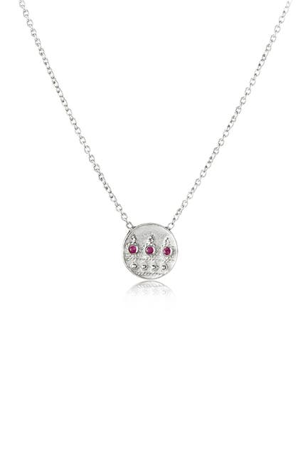 Image of LEGEND AMRAPALI SILVER Sterling Silver Heritage Moon Pink Ruby Pendant Necklace