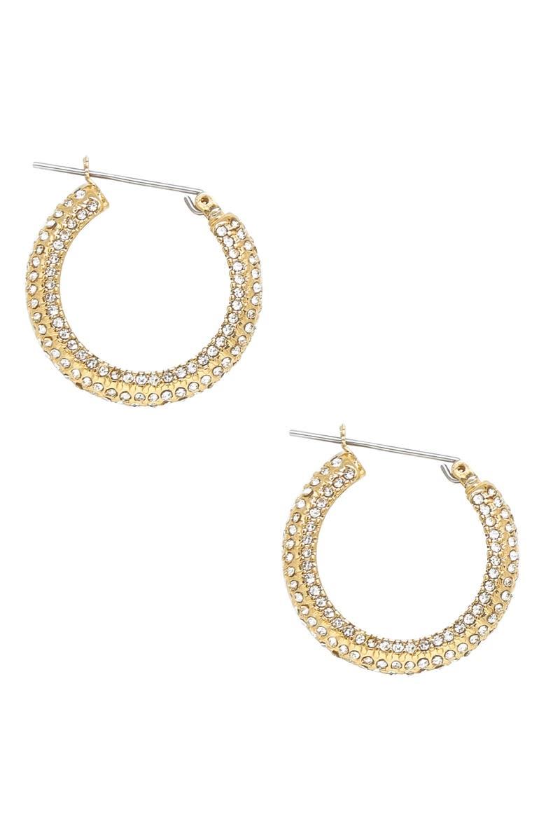 ETTIKA Crystal Embellished Hoop Earrings, Main, color, GOLD