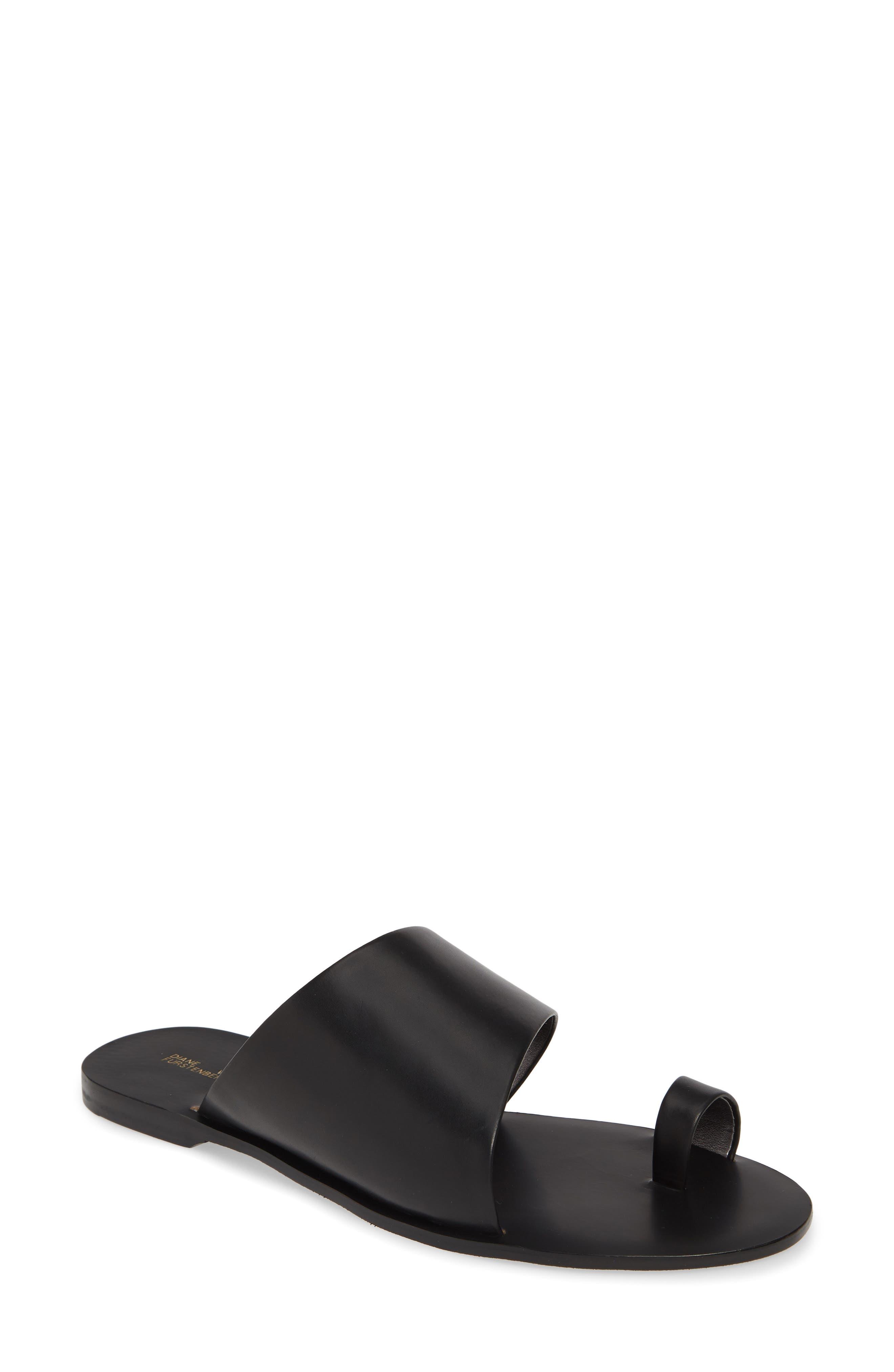 Diane Von Furstenberg Brittany Asymmetrical Flat Sandal- Black