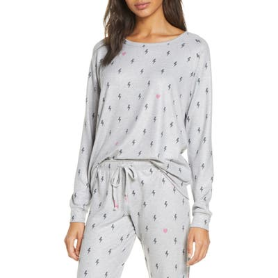 Pj Salvage Peach Party Long Sleeve Sleep Shirt, Grey