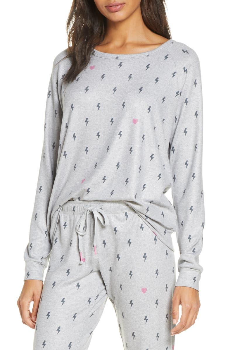 PJ SALVAGE Peach Party Long Sleeve Sleep Shirt, Main, color, 028