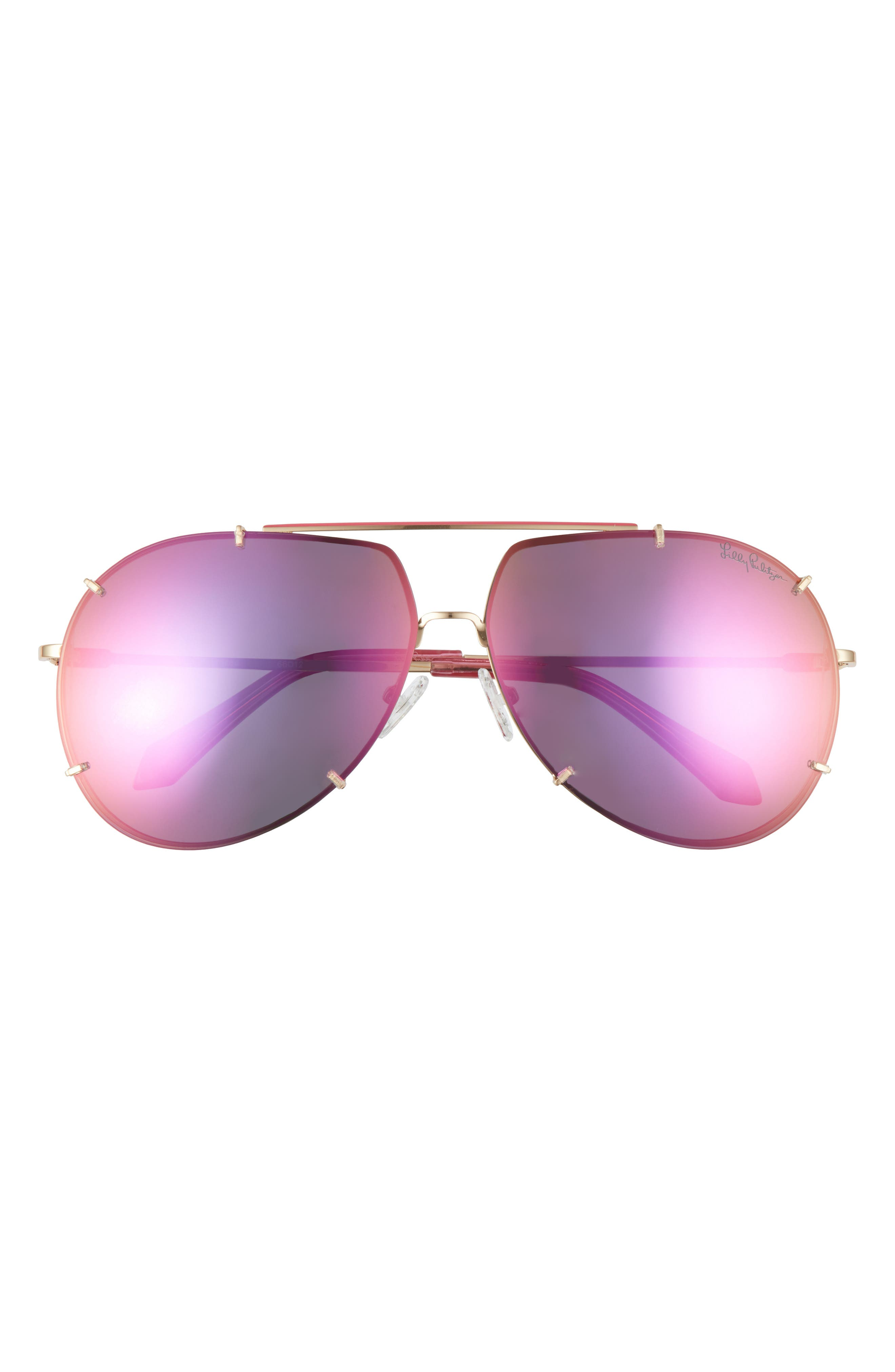Mirrored lenses with a glare-reducing polarized finish add suave style and utility to these oversized aviator sunglasses. Style Name: Lilly Pulitzer 66mm Adelia Oversize Polarized Aviator Sunglasses. Style Number: 6104398. Available in stores.
