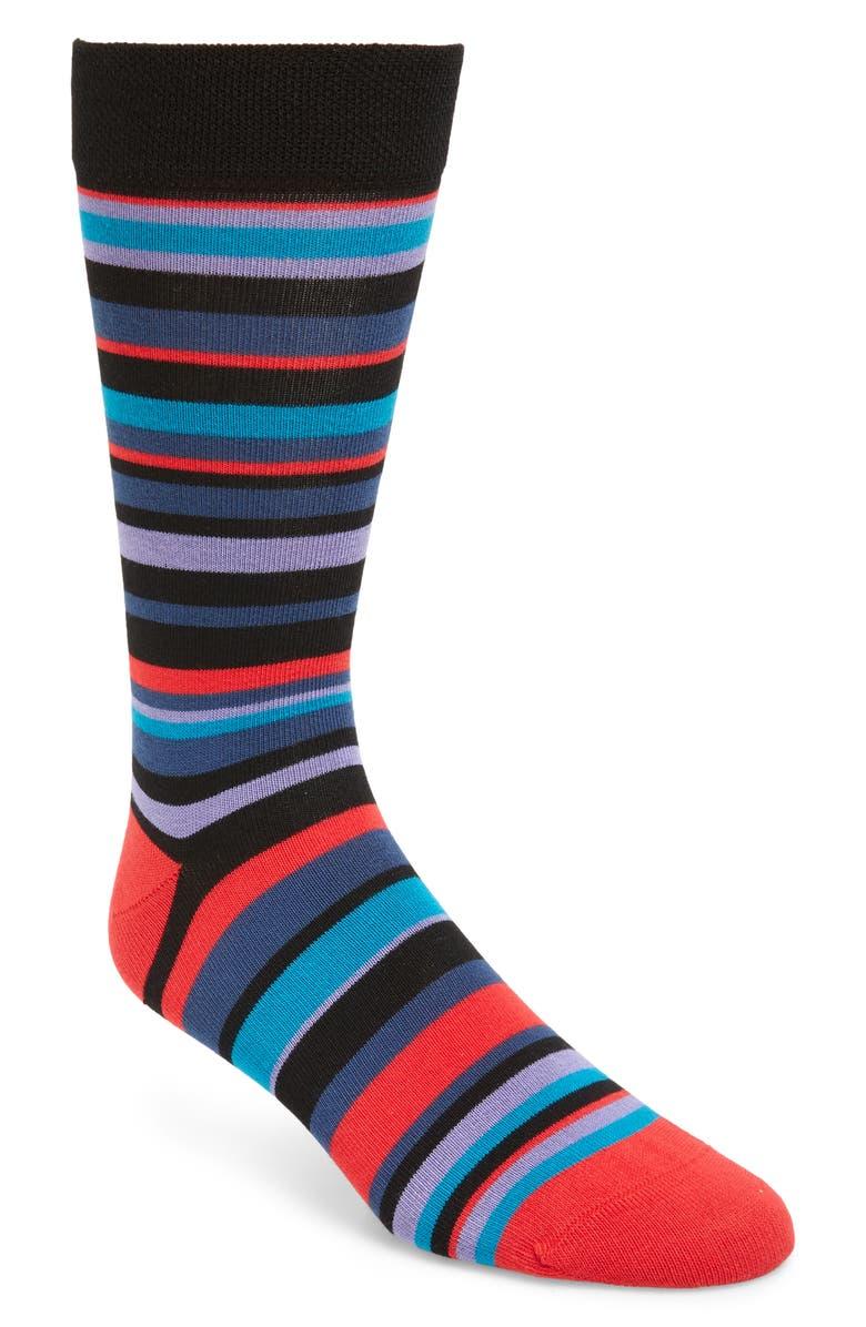 TED BAKER LONDON Sherbon Stripe Socks, Main, color, RED